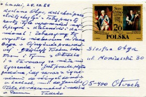 List ks. Tadeusza Fedorowicza do siostry Olgi Fedorowicz, 24.12.1988