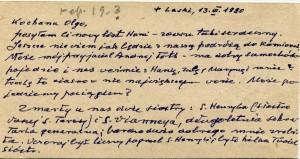 List ks. Tadeusza Fedorowicza do siostry Olgi Fedorowicz, 13.03.1990