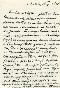 List ks. Tadeusza Fedorowicza do siostry Olgi Fedorowicz, 18.01.1991