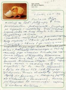 List ks. Tadeusza Fedorowicza do siostry Olgi Fedorowicz, 28.04.1991