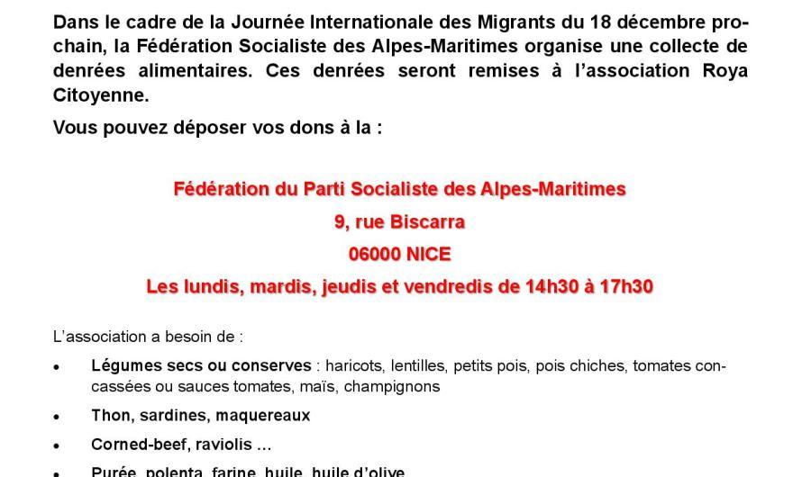 Journée Internationale des Migrants : Collecte de denrées alimentaires au profit de l'association «Roya Citoyenne»