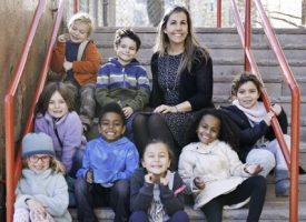 Image of Principal Katie Dello Stritto with students