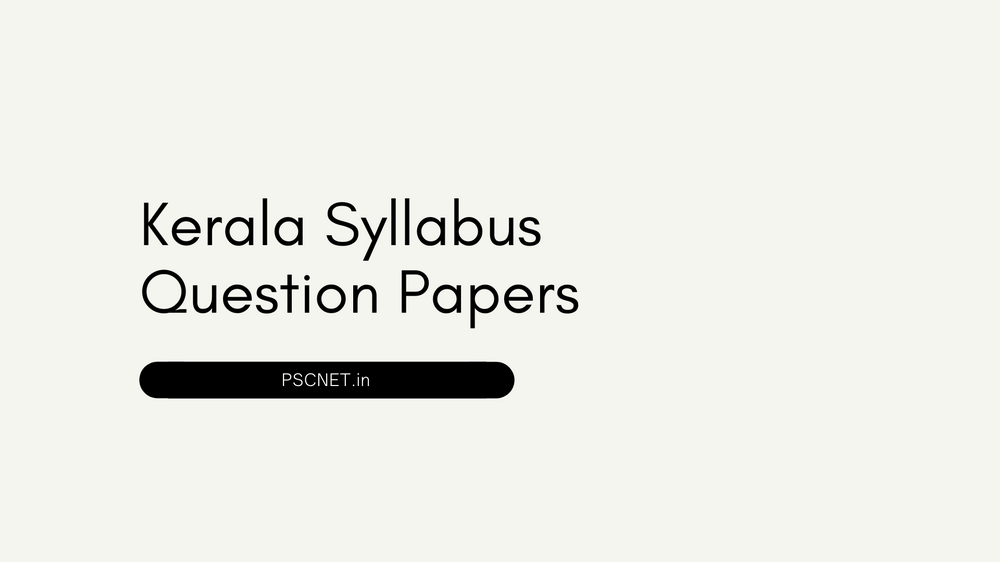 Kerala Syllabus Question Papers
