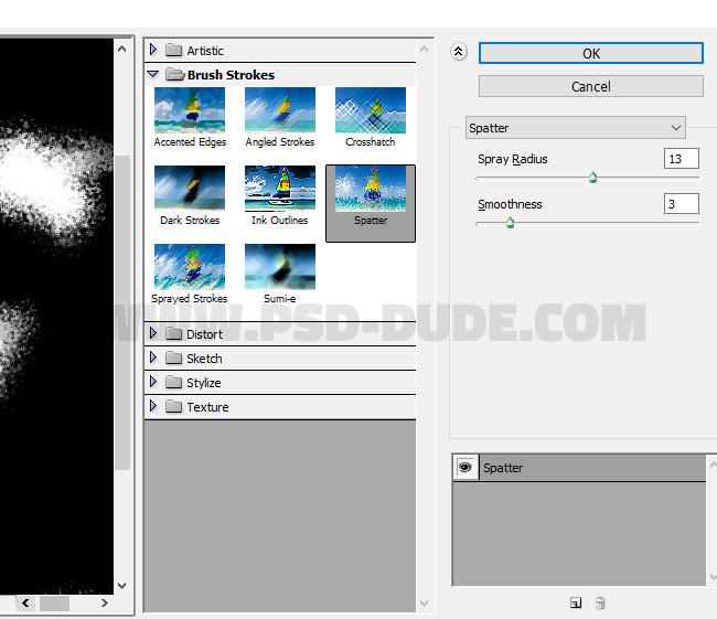 spatter filter in photoshop