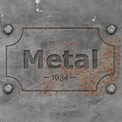 engraved metal text style