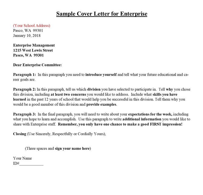 Enterprise Week  Sample of Cover Letter
