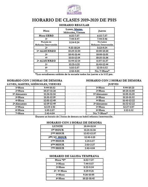 Bell Schedule / 2019-2020 Bell Schedule
