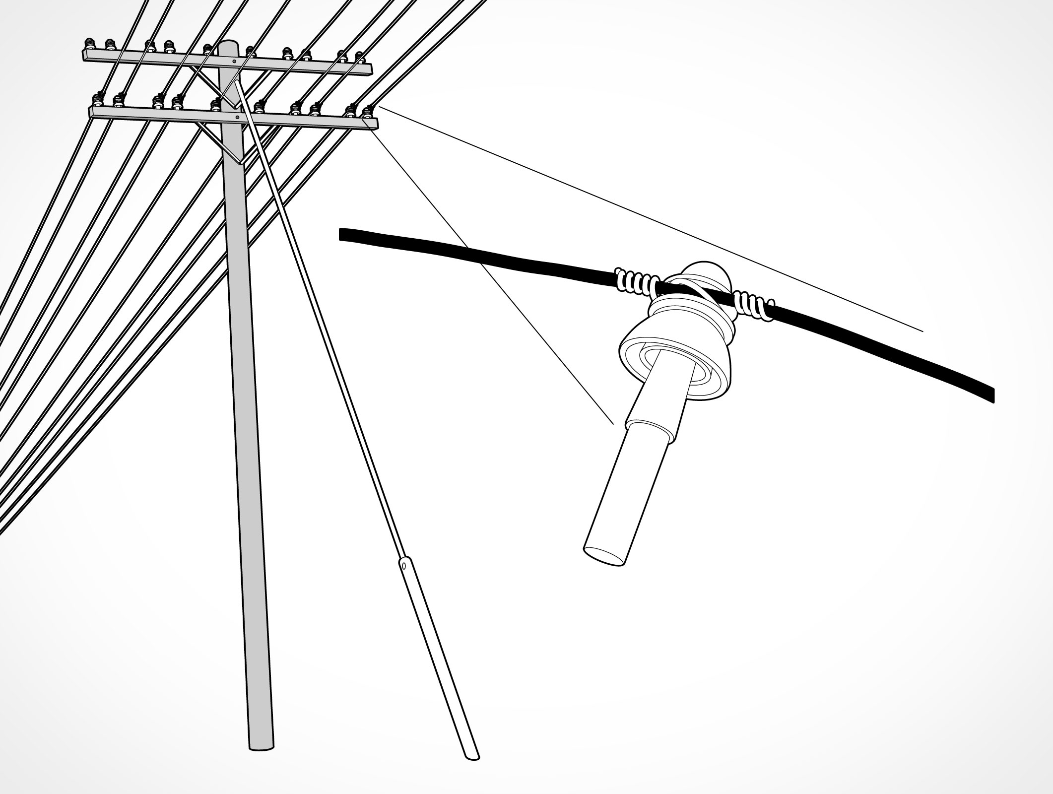 Guy Wire Electrical Post