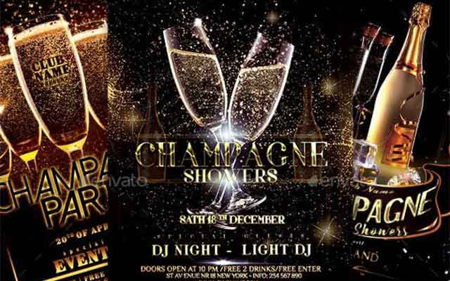 Champagne Party Flyer Bundle Free Download
