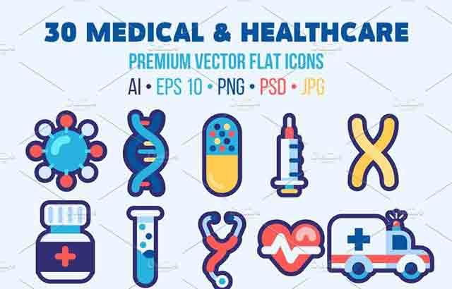 30 Medical Flat Icons Good for Logo ByOllysweatshirt Free Download