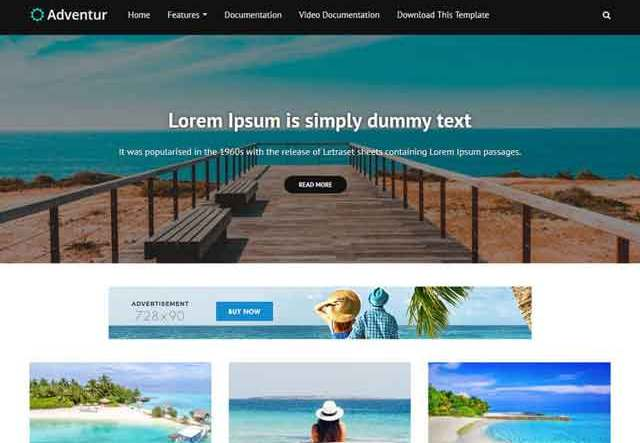 Adventur Travel Blogger Template Premium Version Free Download