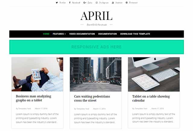 April Grid Blogger Template Premium Version Free Download