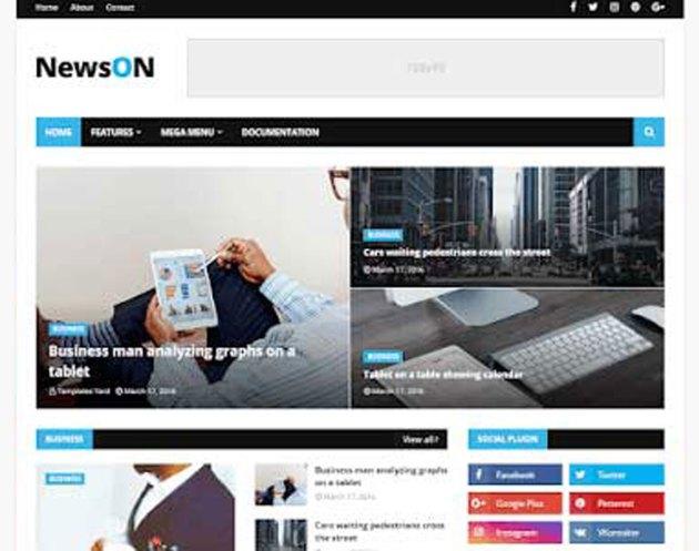 NewsOn Magazine Blogger Template Premium Download Free 3