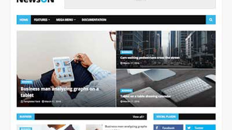 NewsOn Magazine Blogger Template Premium Download Free 3