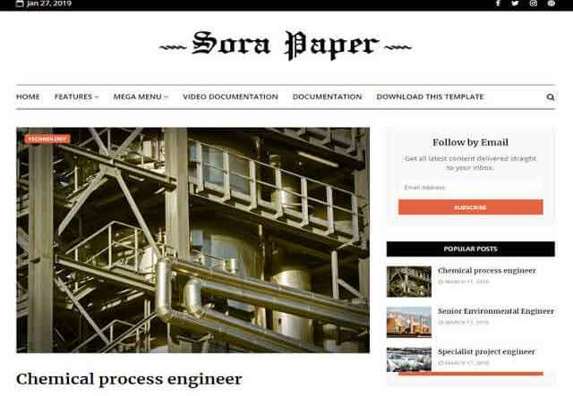 Sora Paper Blogger Template Premium Version Free Download