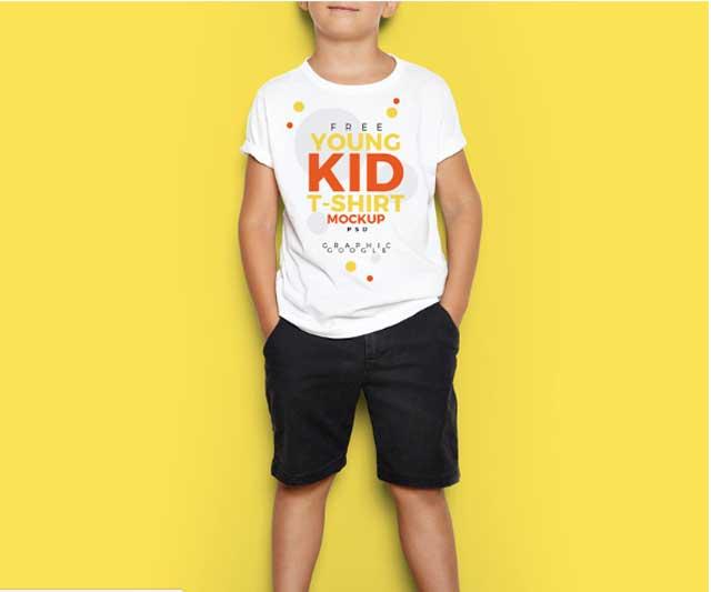 Little Boy T shirt PSD Mockup