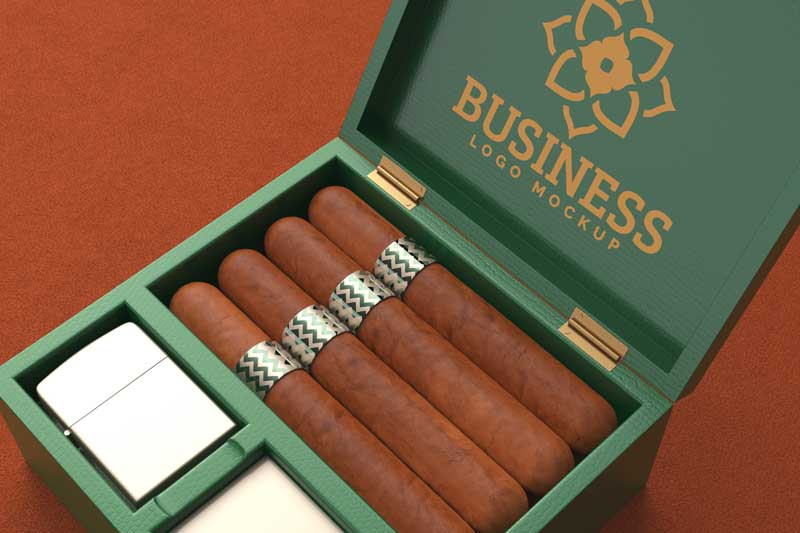 Cigar Mockup and Green Box