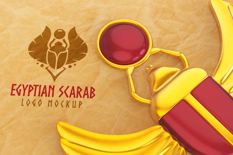 Egyptian Scarab Logo Mockup