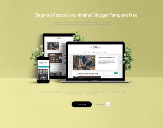 Eleganto Responsive Minimal Blogger Template Premium Free