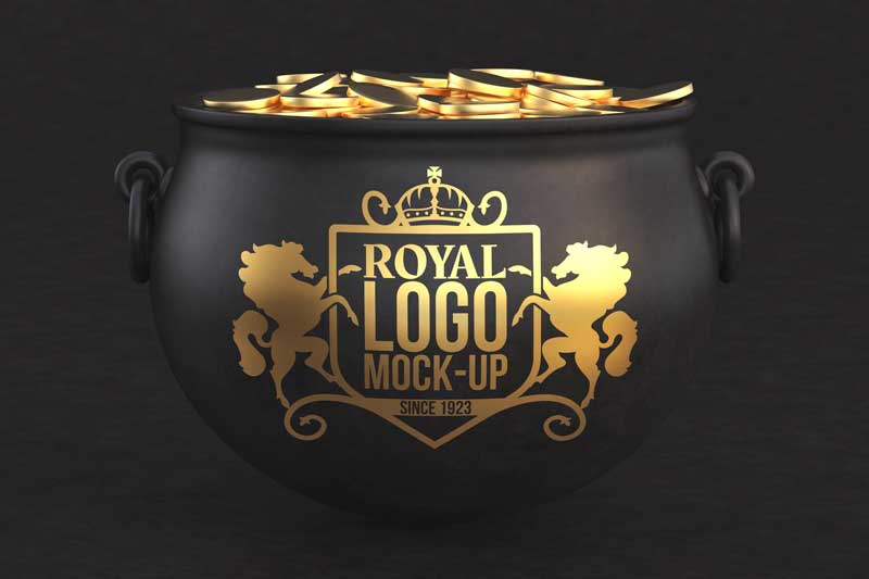Gold Coins Logo  Mockup