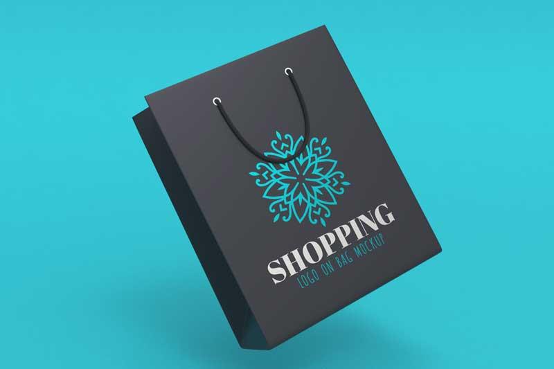 Shopping Bag Dark and Color Logo Mockup