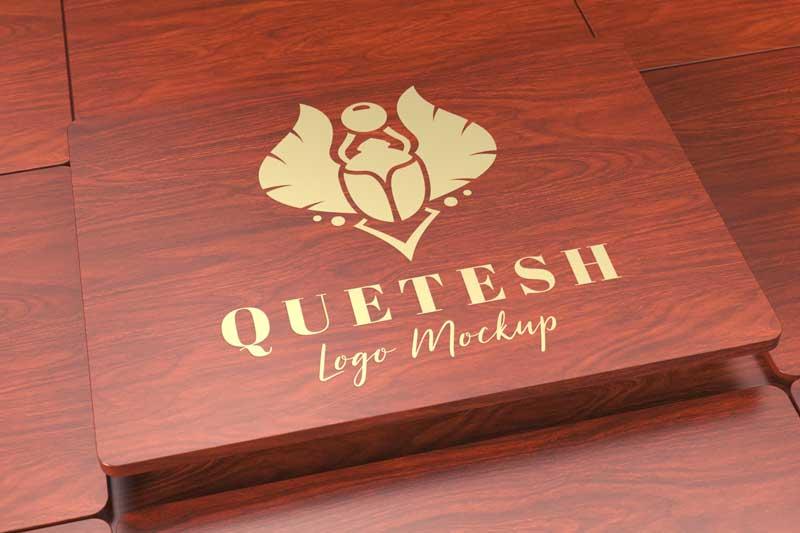Wood and Gold Logo Mockup