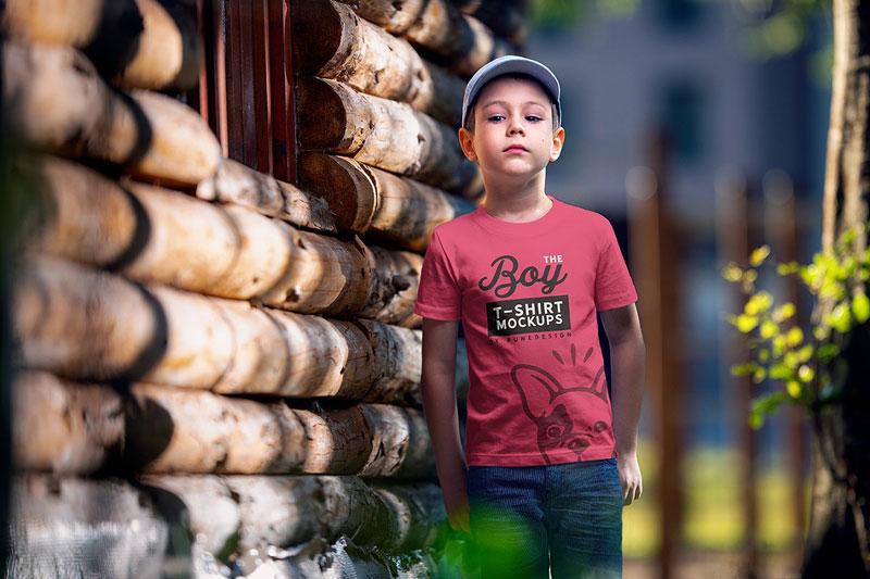 Boy T Shirt Mock Up Set 5