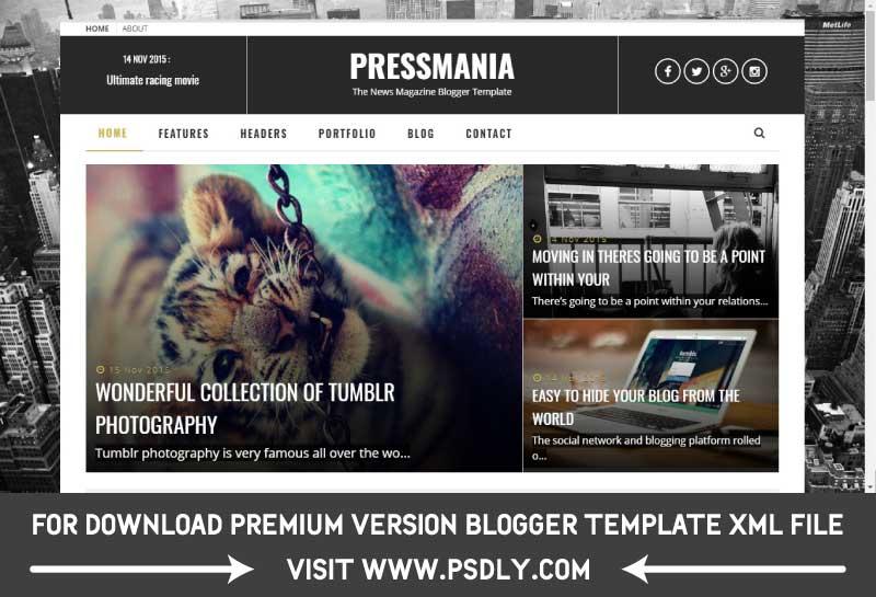 PressMania Blogger Template Premium Free Download