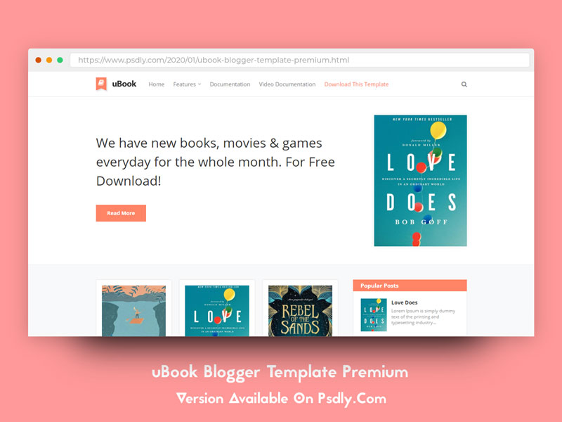 Download Free uBook Blogger Template