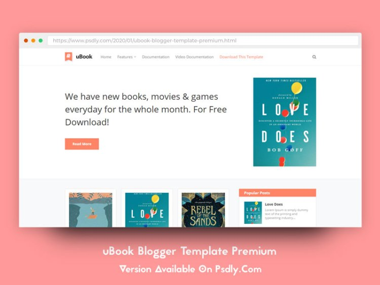 Download Free uBook Blogger Template Premium Free