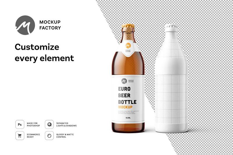 Euro Beer Bottle Mockup