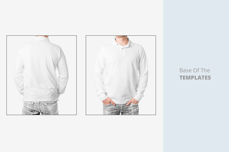 Long Sleeve Men Polo Shirt Mockup