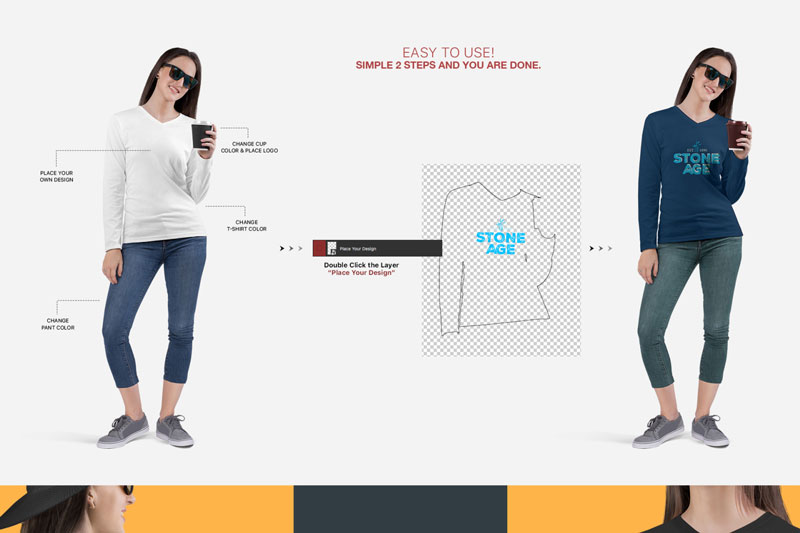 Women2527s V Neck Long Sleeve Shirt Mockup Set 1