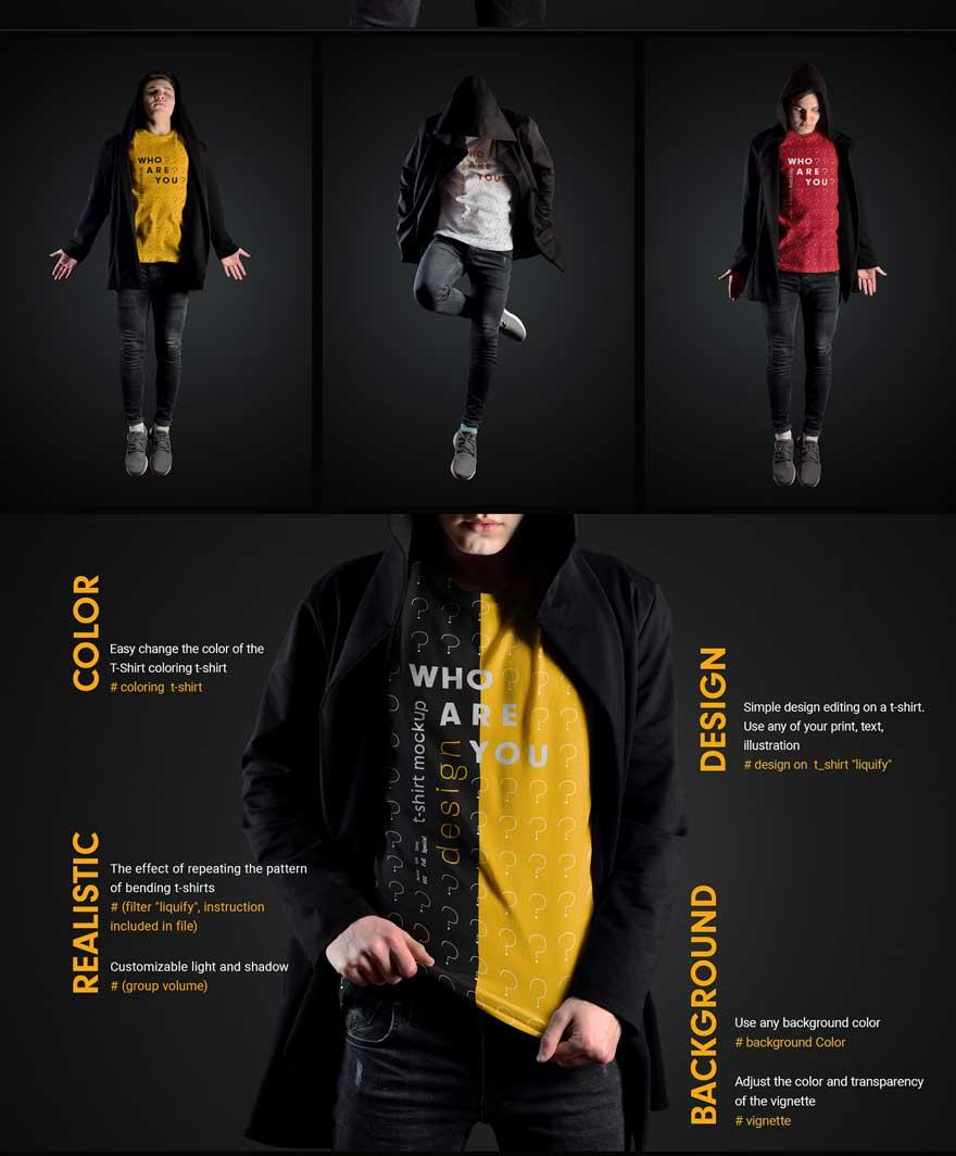 11 Mockups Man T Shirts in a Black Hood Mantle 2