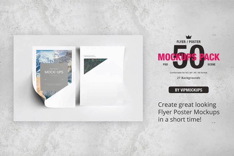 50 Flyer Poster Mockups Pack Creativemarket