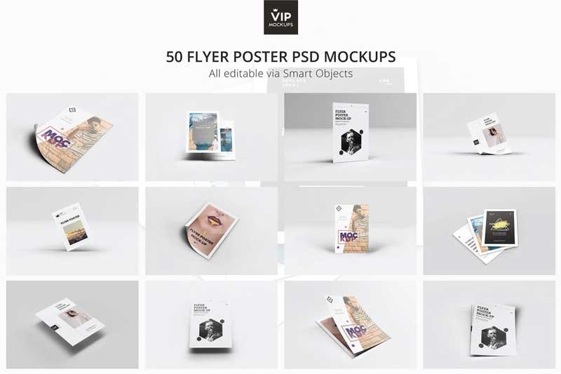 50 Flyer Poster Mockups Pack Psdly