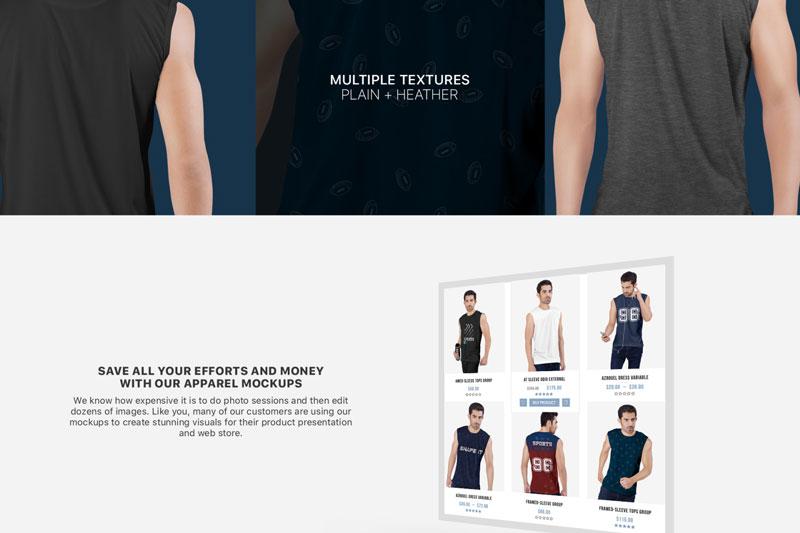 Men2527s Sleeveless Shirt Mockup Set 2