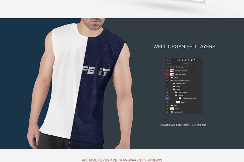 Men2527s Sleeveless Shirt Mockup Set 3