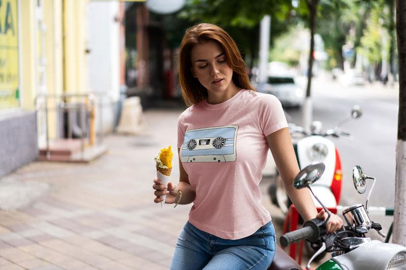 T Shirt Mock Up Walking Girl 1