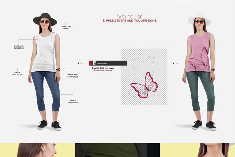 Women2527s Sleeveless Shirt Mockup Set 1