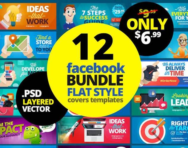 12 FB Covers Bundle Flat Style 1877571