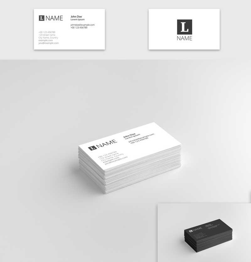 4 in 1 Business Card Mockup Set 1