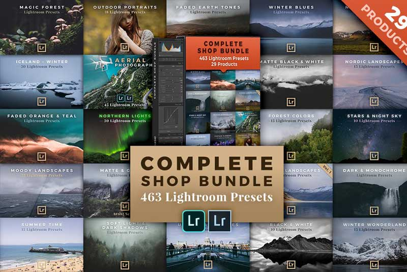 Creativemarket BUNDLE 29 Lightroom Preset Packs 924218 Free Download