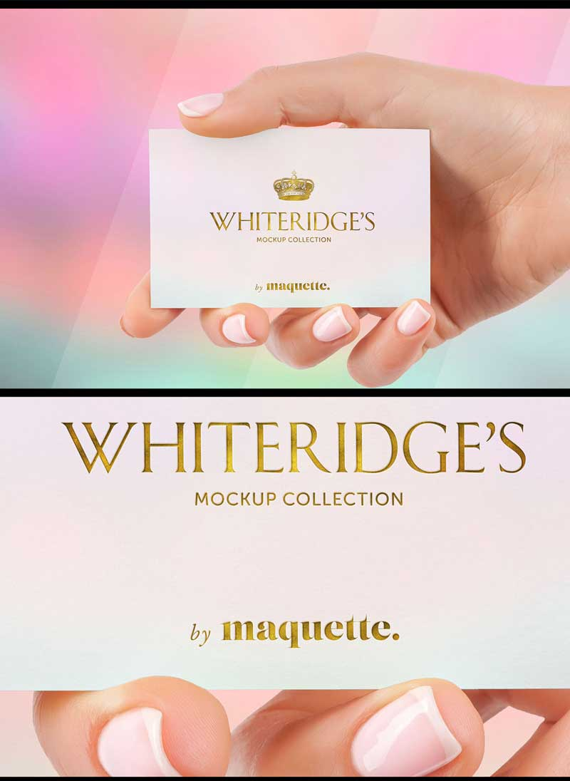 Hand with Gold Embossed Business Card Mockup 15 2