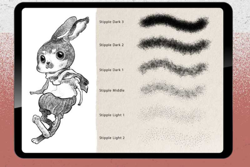 22 Procreate Brushes - Stipple Shading