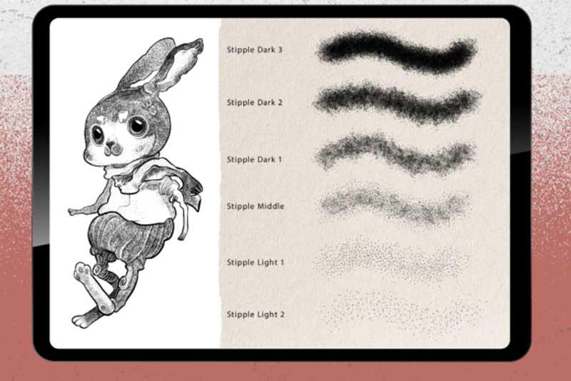 22 Procreate Brushes - Stipple Shading