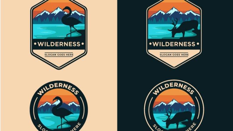 Camping252C Mountain252C Nature Wild Badge Graphic Illustrations