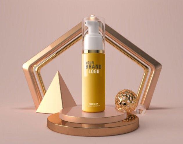 Cosmetic Face Foam bottle Mockup Template