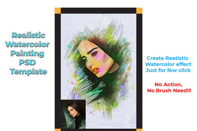 Realistic Watercolor PSD Template 4570617