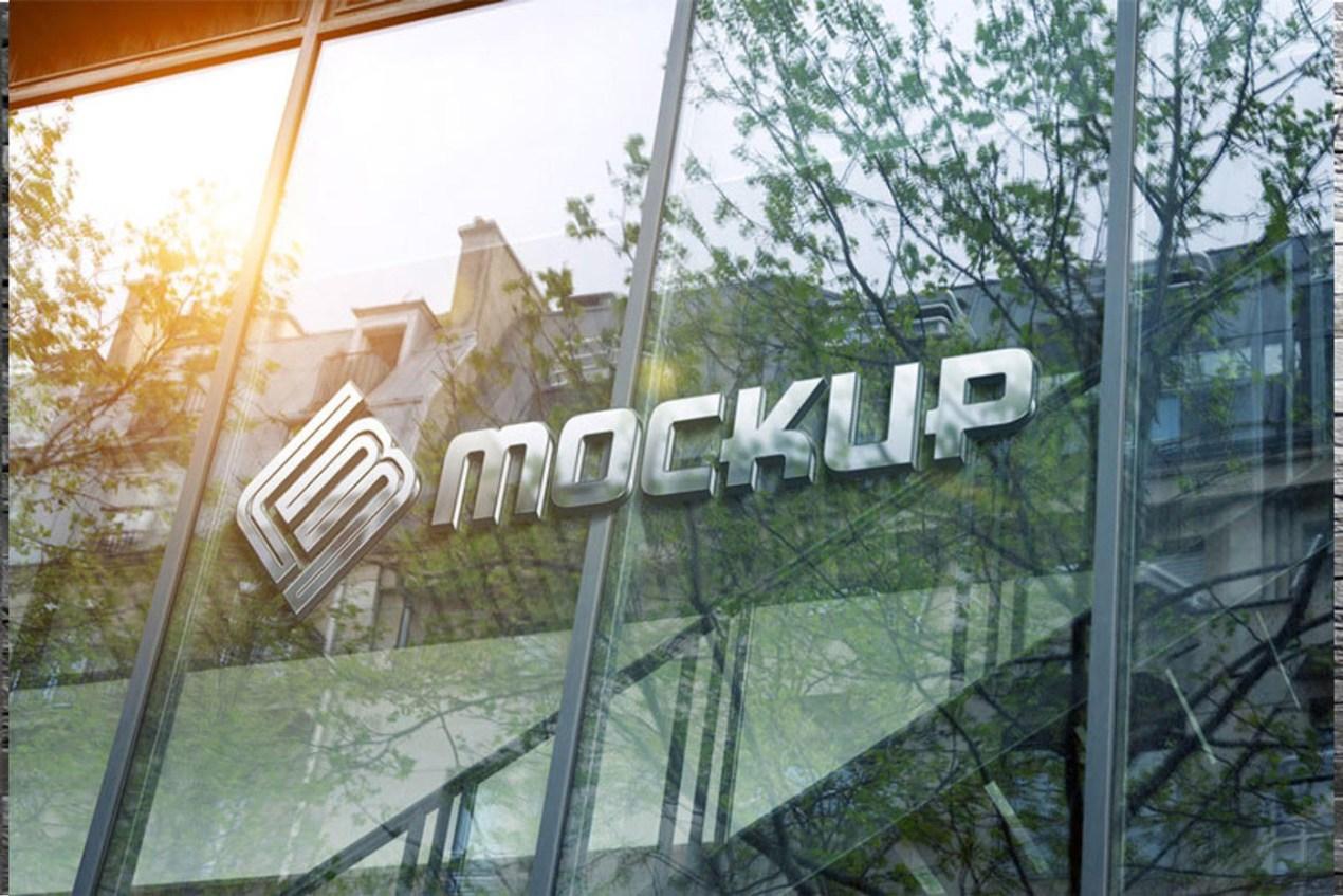 Logo on Glass Window Mockup